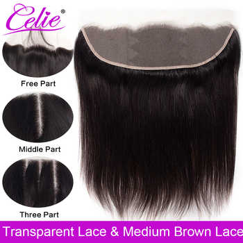 Celie Brazilian Straight Hair HD Transparent Lace Frontal Closure 8-22 inch Swiss Lace Frontal Human Hair Closure Ear To Ear - DISCOUNT ITEM  43% OFF All Category