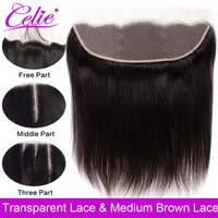 Celie Brazilian Straight Hair HD Transparent Lace Frontal Closure 8 22 inch Swiss Lace Frontal Human Hair Closure Ear To Ear