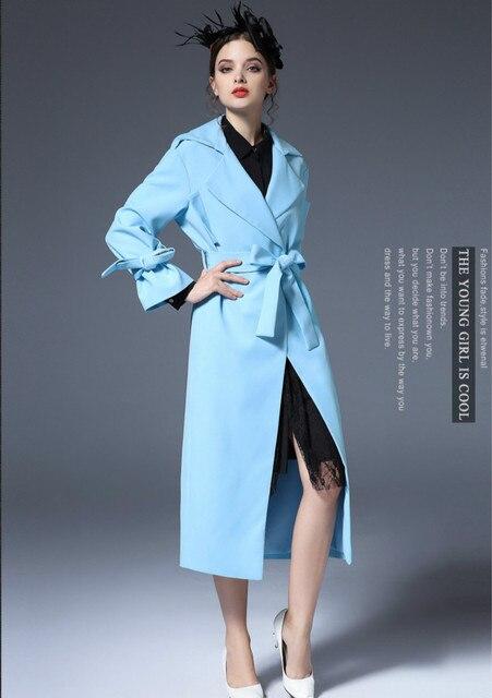 Новый женский Плащ Длинный Синий Цвет Тонкий Элегантный Регулируемый Ремень Женщина С Длинными 2016 Осень Дамы Офис Пальто Высокого Качества европейский
