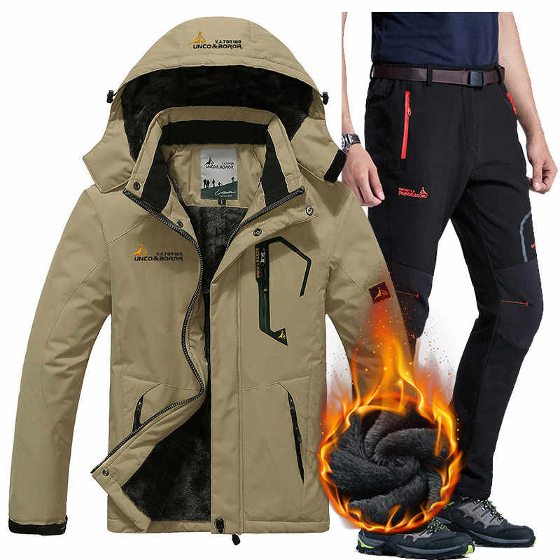 Зимняя Лыжная куртка, костюмы для мужчин, водонепроницаемая флисовая зимняя куртка, термопальто, уличная куртка для катания на горном лыжах, сноуборде, брючные костюмы, L-5XL