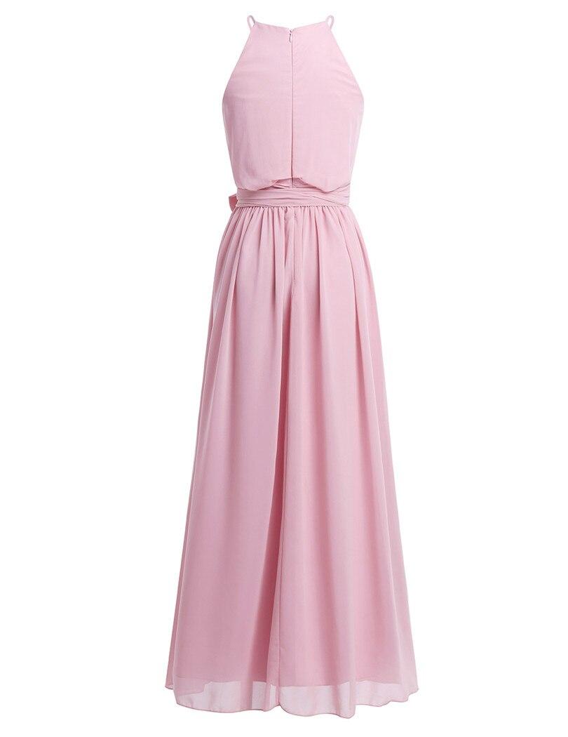 Image 2 - Женское платье без рукавов TiaoBug, длинное шифоновое платье с лямкой на шее для свадебной вечеринкиchiffon bridesmaid dressbridesmaid dresseslong wedding party dresses  АлиЭкспресс