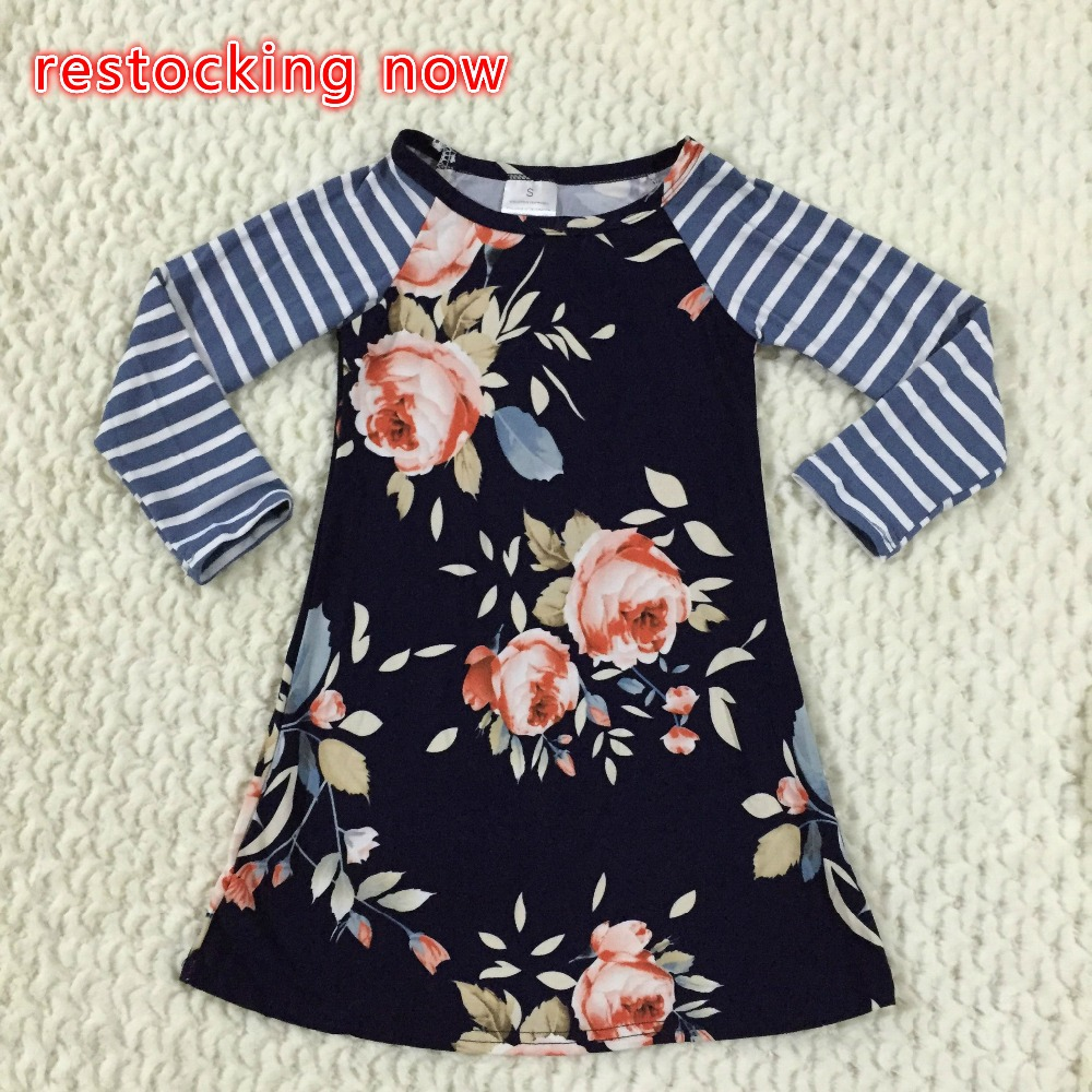 new fall/winter baby girls milk silk cotton dress navy perple floral flower striped ruffle long sleeve children clothes boutique