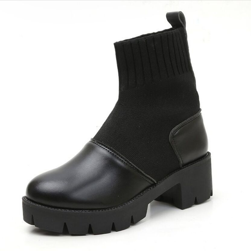 Xiaying ابتسامة جديد أزياء النساء الربيع الشتاء الأحذية البريطانية نمط الجوارب تقسيم الجلود مربع كعب أحذية منصة للنساء-في أحذية منتصف ربلة الساق من أحذية على  مجموعة 3