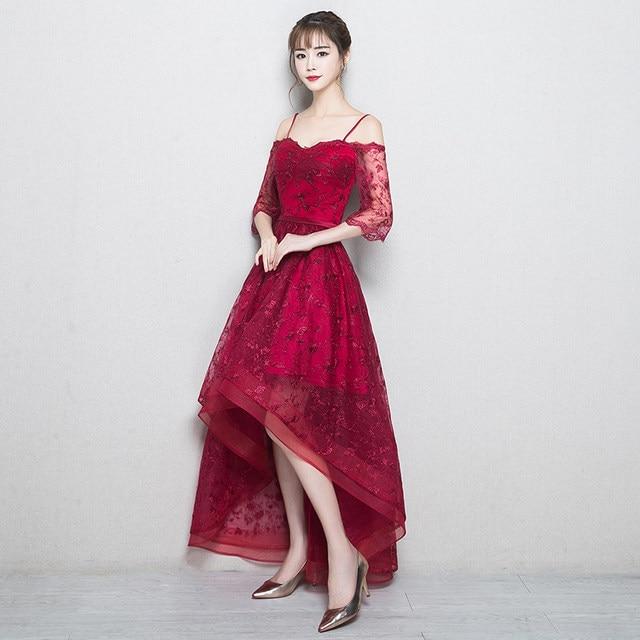 Online Shop PotN\'Patio Elegant Boat Neck High Low Prom Dresses 2018 ...