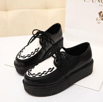 Women Flats Shoes 2016 new fashion creepers shoes woman plus size Creepers platform shoes Обувь
