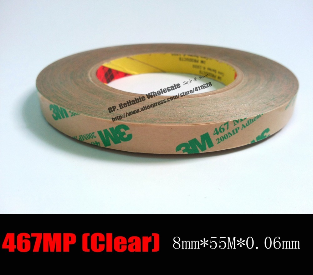 (0.06mm Thick), 8mm*55 meters Thin <font><b>3M</b></font> 467 <font><b>200MP</b></font> 2 Sided Tape Sticky Film High Temperature Resistance Plate Rubber Foam Trim Bond image