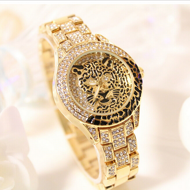 Latest New Women Watches Lady Diamond Stone Dress Watch Steel Leopard Rhinestone Bracelet Wristwatch Female Tiger Crystal Watch