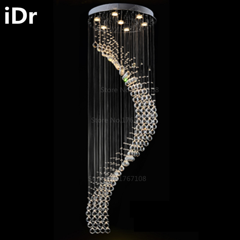 Staircase chandelier modern minimalist LED crystal chandelier long duplex villas rotating large living room lamps iDr-0006 end table