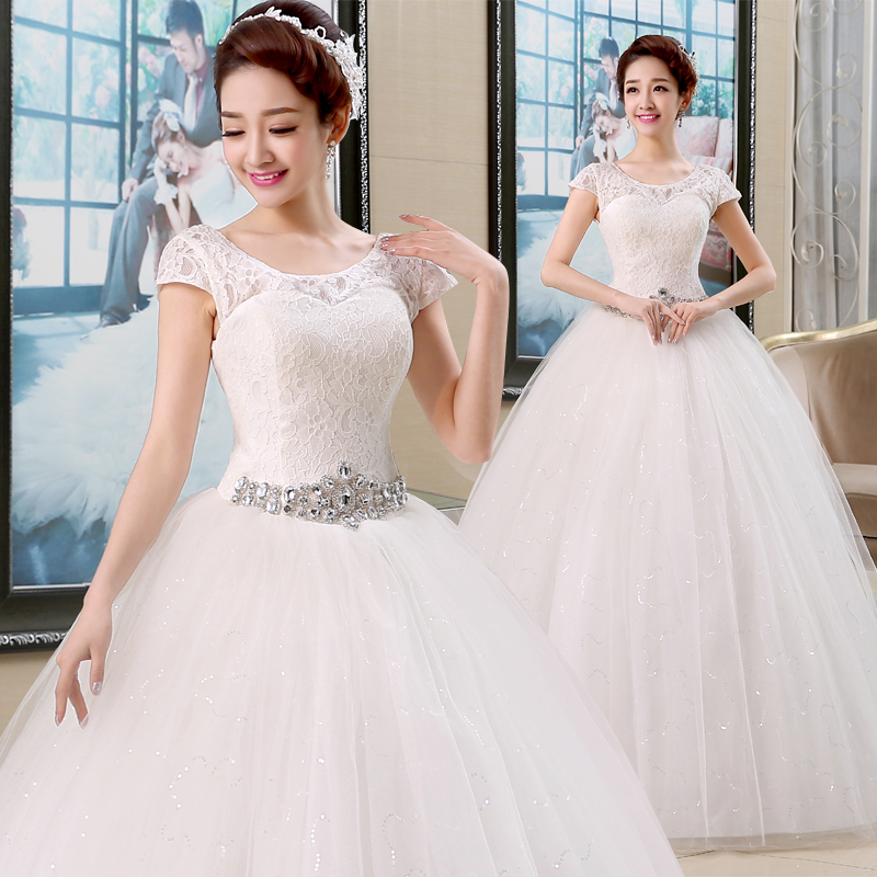 2019 New Wedding Dress Shoulders Ball Gowns Wedding Dresses Simple Retro Lace Up Bridal Dresses