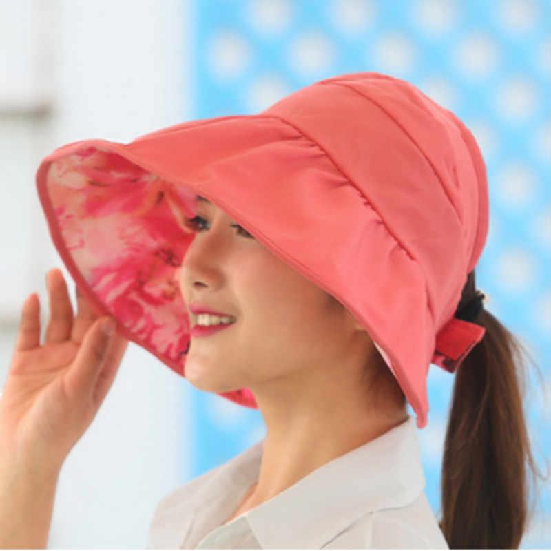cd2e1f55165 ... wide brim summer hats for women sun hat panama reversible UV protection  floral beach cap sombrero ...