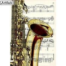 ArtBack 5d diy алмазная живопись музыкальный инструмент саксофон значок полный квадрат/круглые стразы Алмазная мозаика вышивка