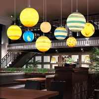 Colorido universo planeta Foyer Led colgante luces restaurante Hanglamp habitación de los niños Parque colgante lámpara Art Deco