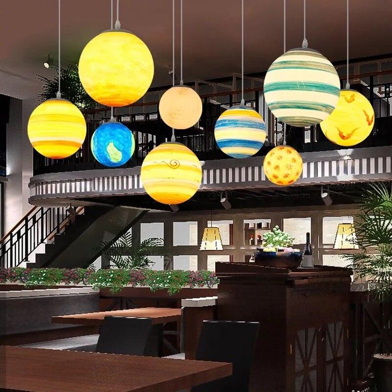 Colorido universo planeta foyer luzes pingente led restaurante hanglamp crianças quarto parque das crianças pingente lâmpada loft arte deco