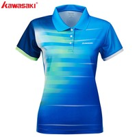 2019 Kawasaki Women T Shirt Polyester Tennis Shirts Short Sleeve Collar sports Shirt For Women Gym Shirt Anti Seat ST S2102