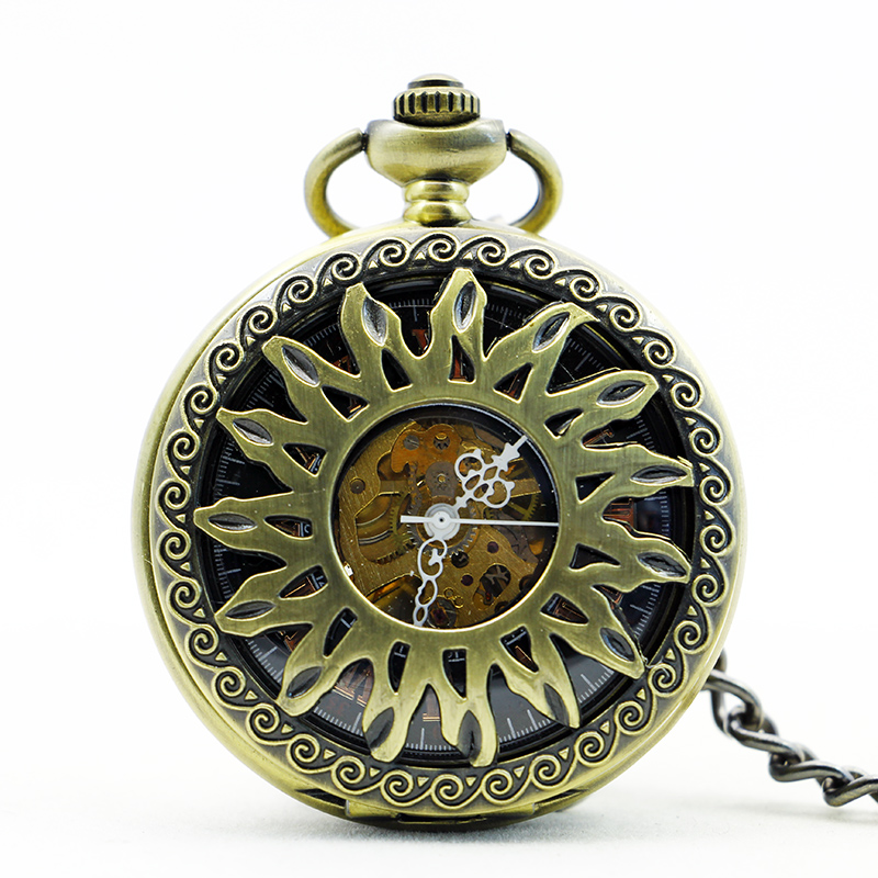 Nice Vintage Bronze Pocket Watches Hollow Sunflower Mechanical Pocket Watch Mens Womens With Fob Chain PJX1162