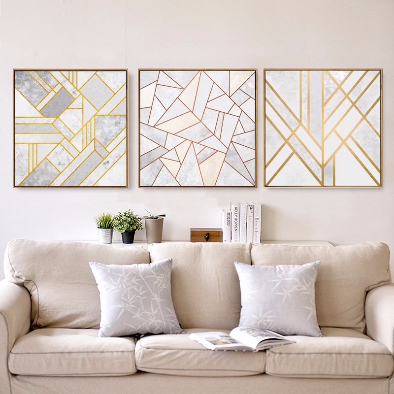Abstract Geometric Canvas Painting Grey Gold Red Nordic