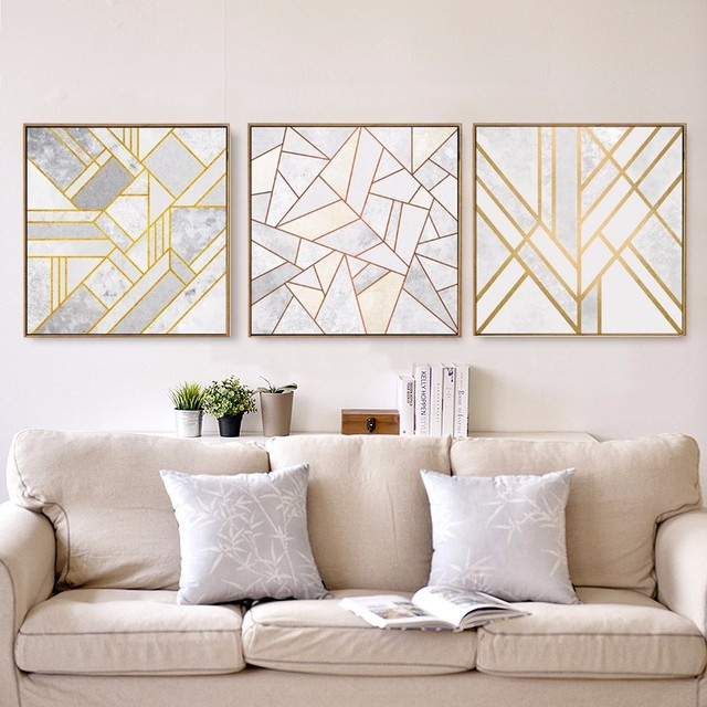 Charming Abstract Geometric Canvas Painting Grey Gold Red Nordic Posters Wall Art  Picture Living Room Home Decor