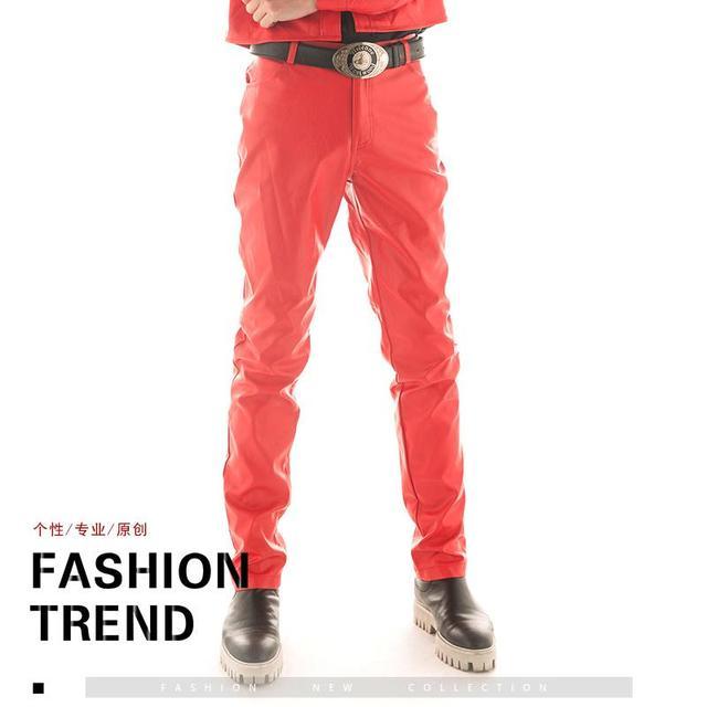 95b36f1ca9 US $40.29 38% di SCONTO Originale Designer Harem Pant Per L'uomo Pantaloni  di Pelle Personalità degli uomini di Modo Discoteca Cantanti Rock Costume  ...