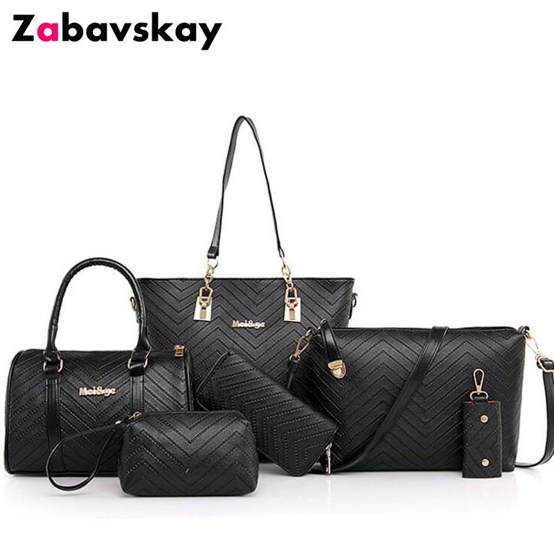 2018 New Brand Luxury Lady Handbag 6 Pcs/set Composite Bags Set Women Shoulder Crossbody Bag Female Purse Clutch Wallet DJZ443 цена