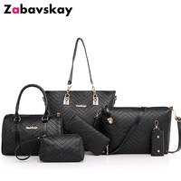 2019 New Brand Luxury Lady Handbag 6 Pcs/set Composite Bags Set Women Shoulder Crossbody Bag Female Purse Clutch Wallet DJZ443