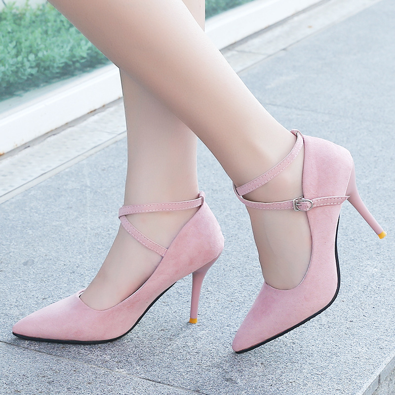 Pumps 2017   single shoes shallow mouth pointed toe high-heeled shoes thin heels sexy pink women's high-heeled Cross-tied 9.5 cm купить
