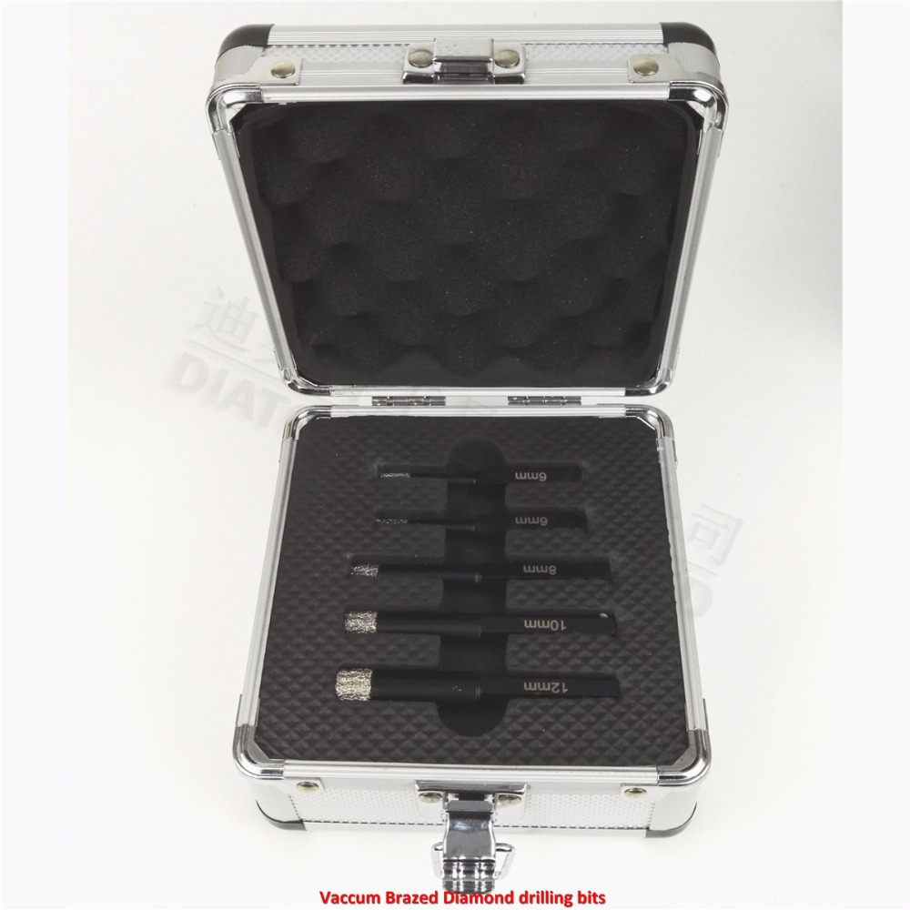 цена на DIATOOL Drill bits kits 5pcs/sets (6/6/8/10/12MM) Vaccum Brazed Diamond drilling bits Hex Shank Dry drilling for stone, masonry