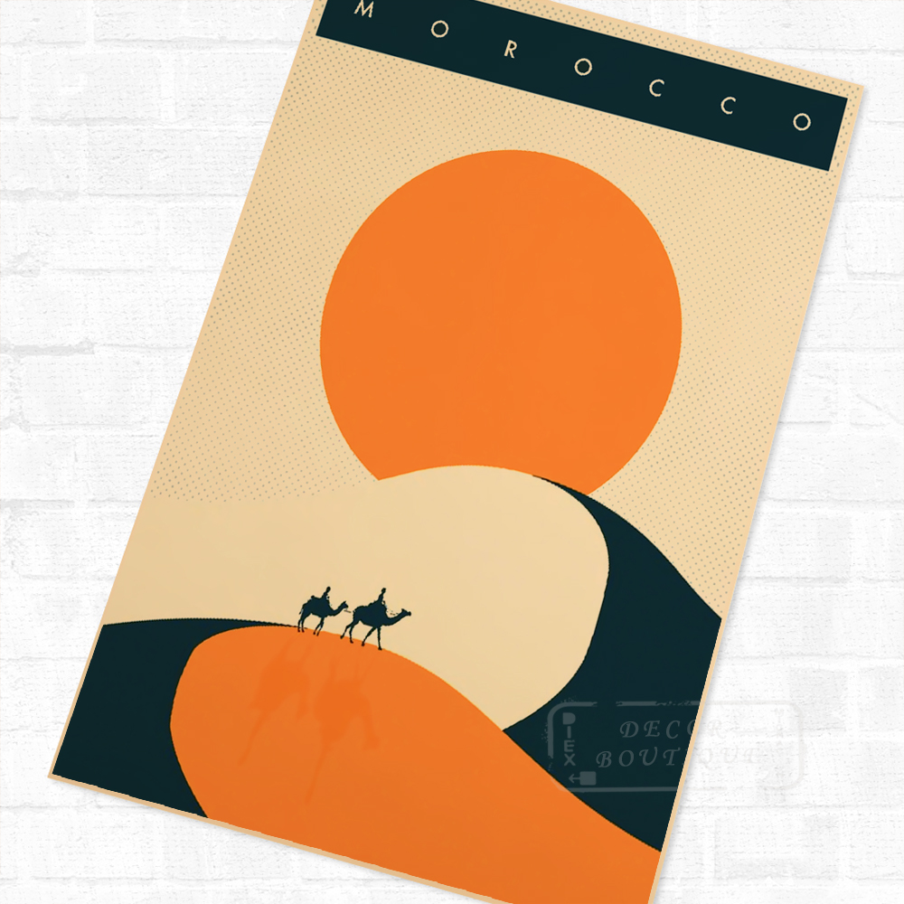 Morroco Minimalist African Propaganda Vintage Travel Poster Retro ...