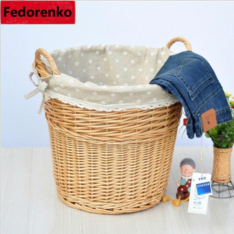 shporta e punuar me dorë natyrale të endura me shporta rroba të - Magazinimi dhe organizimi në shtëpi - Foto 2