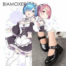 Biamoxer Re: sıfır kara Hajimeru Isekai Seikatsu Ram Rem Kasugano Sora Kadın Hizmetçi Siyah Deri Düz Alçak Topuk Ayakkabı Cosplay