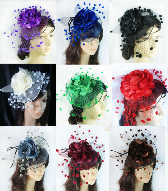 Party Lady Veil Mini Top Hat Wedding Headdress Fascinator Clip Navy
