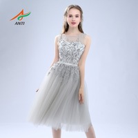 ANTI Luxury 2017 Robe De Cocktail Dresses Sleeveless Tulle For Wedding Party Crystal Short Vestidos De Coctel Party Bride Gowns
