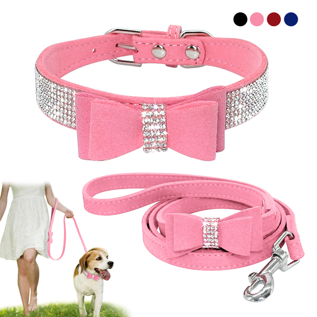 1e8c71c6e8958 Bling Bowknot Suede Leather Rhinestone Dog Collar and Leash Set Pet Puppy  Cat Chihuahua Collars For