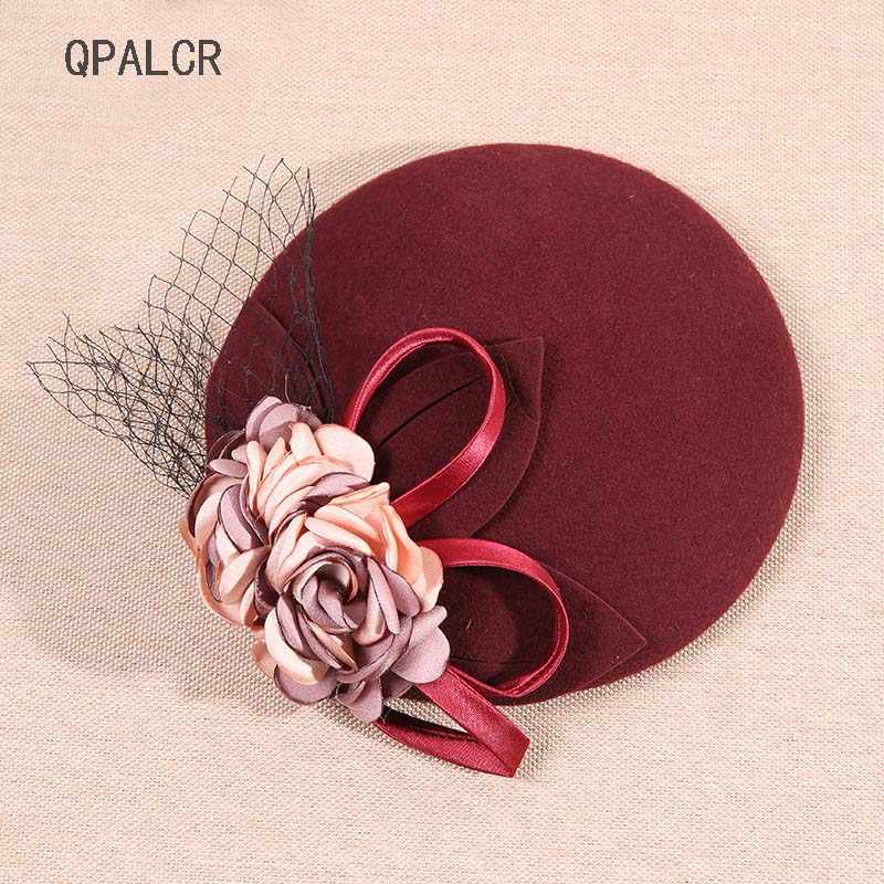 QPALCR Vintage Women Fascinators Wool Pillbox Hats Mesh Floral Felt Hat Cocktail Party Wedding Ladies Fedoras Hat Green Berets