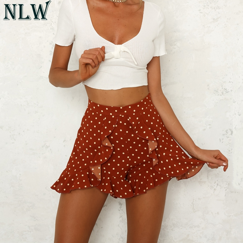 NLW Red Polka Dot   Shorts   Ruffle Girl   Shorts   High Waist Women Summer   Shorts   2019 Femme Casual   Shorts   Party Casual Streetwear