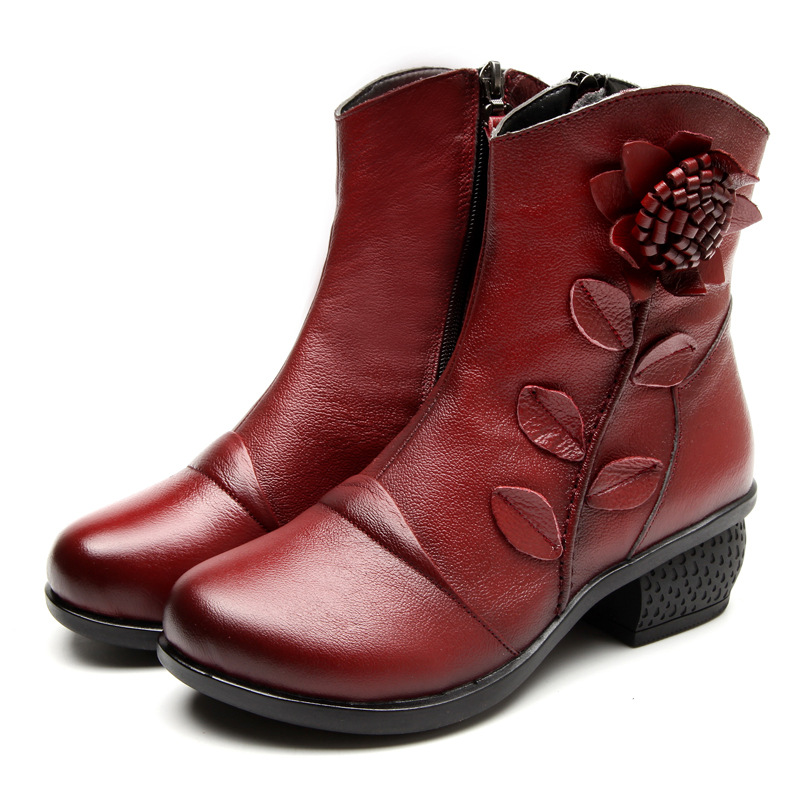 Vintage Handmade Genuine Leather Women Shoes Ankle Boots Round Toe Platform Heels Side Flower Zipper Cowhide Boots zapatos mujer handmade genuine leather boots vintage national trend women boots twiddlefish platform flat heels boots women shoes