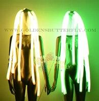 Светодиодный волос Мода 2017 г. кос монохромный полноцветный рок световой головной убор RGB Светящиеся вечерние DJ робот волосы реквизит аксесс