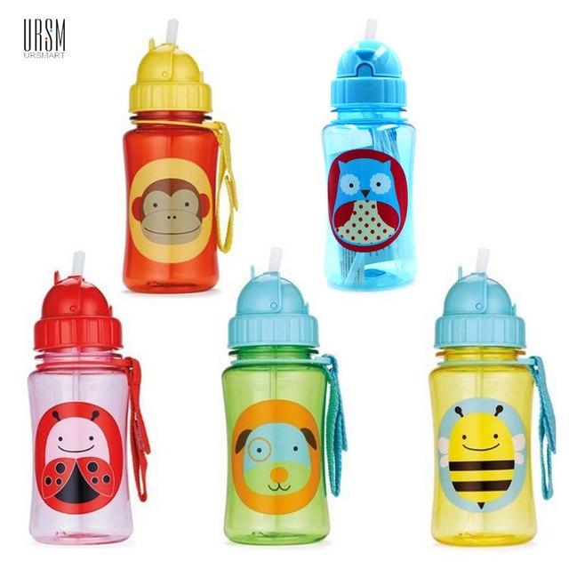 350ML BPA Free Baby Straw Drinking Cups Monkey Owl 8 Style Kids Cartoon Learn Feeding Water Bottle Children StrawTrainning Cup