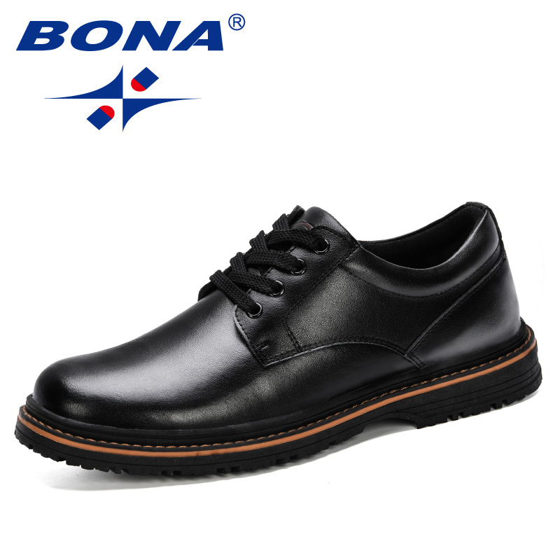 BONA 2019 New Style Men Casual Leather Shoes Men Oxfords Leather Shoes Work Safety Shoes Spring