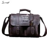 Мужские кожаные сумки лазерной гравировки девиз и логотип бренда документ и кожа книга сумки для ноутбука из натуральной кожи сумка мужско