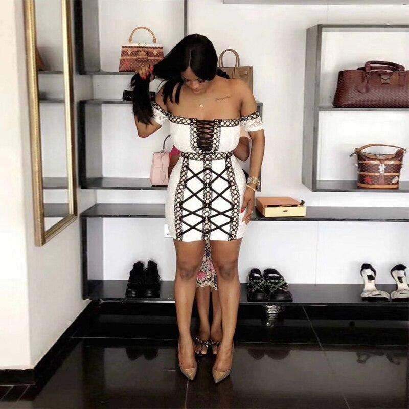 Élégant Blanc Gros Robe Soirée En Lace Up Évider Moulante Mode Avec Off Épaule Sexy De Mariage Femmes New Mini Noir fIY76yvmbg