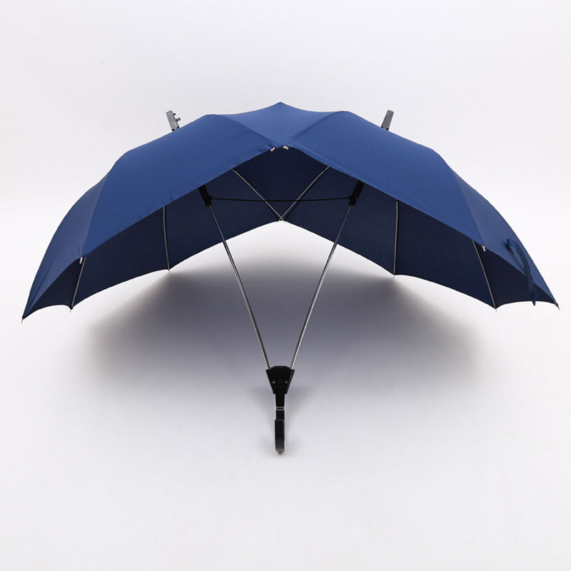2018 Novelty Automatic Two Person Umbrella Parasol Lover Couples Umbrella Two Head Double Rod Umbrella Bumbershoot