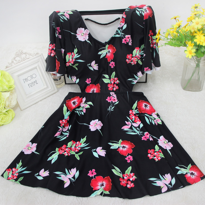 Swimwear Sale Women Letter Spandex 2018 New Korean Boxer Skirt One-piece Cover Belly Thin Small Chest Gather Swimsuit anlala 2016 new swimsuit female siamese boxer skirt plus fertilizer xl cover the belly was thin steel prop gather small chest