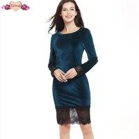 Bodycon Lace Patchwork Velvet Dress Elegant Women Autumn Evening Party Dresses Long Sleeve Fashion Slim Sheath