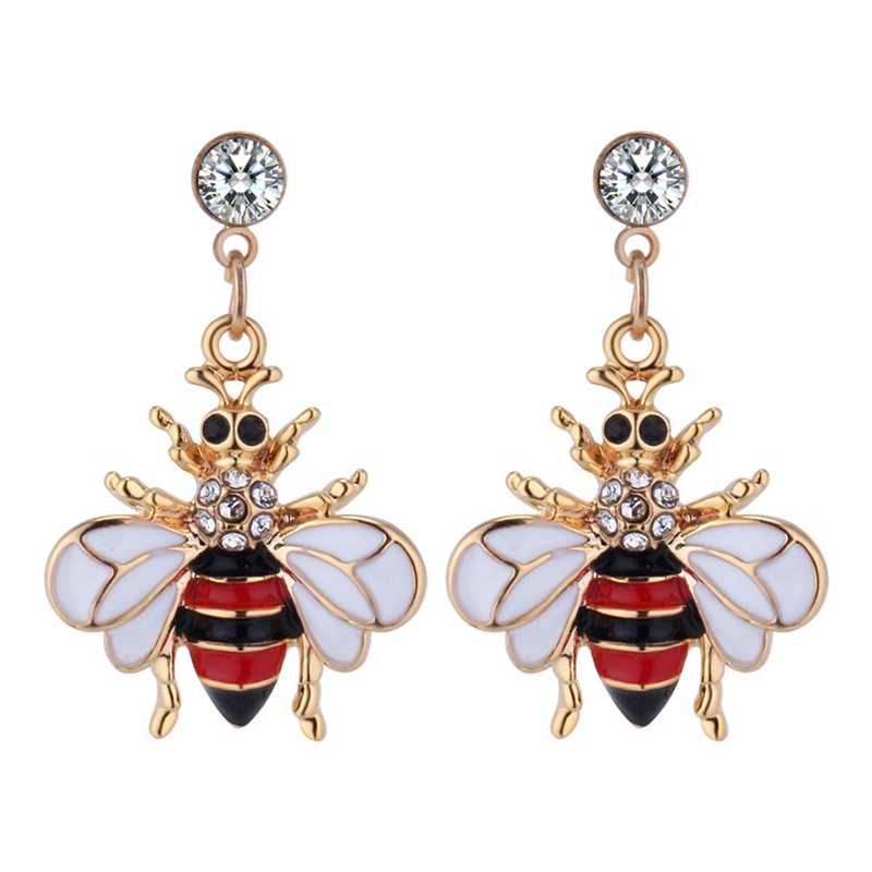New Fashion Style Hot Yellow Black Bees Crystal Stud Earrings New Women Fashionable Animals Gold Color Earrings Jewelry Gifts