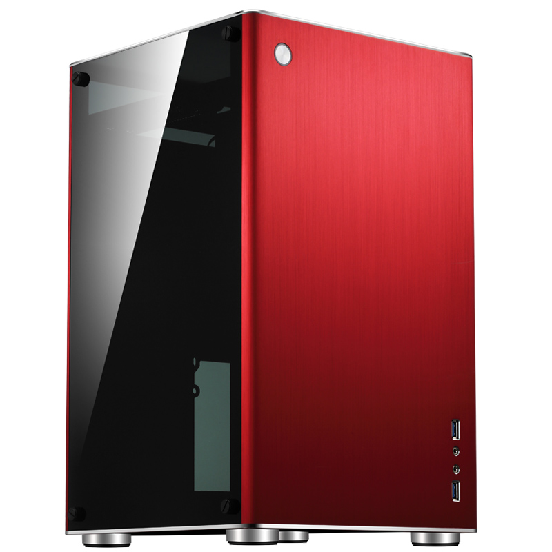 Jonsbo VR1 R Rouge, trempé verre HTPC Mini ITX boîtier de l'ordinateur dans tous les support en aluminium 3.5 ''HDD USB3.0 Home cinéma informatique