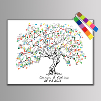 1 Set Personalize Wedding Decoration Happy Wedding Souvenir Guest DIY Fingerprint Tree Painting 24 Pieces Ink