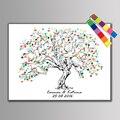 1 conjunto personalizar as lembranças de casamento convidado livro assinatura pintura da lona da árvore da impressão digital diy para decoração de casamento romântico