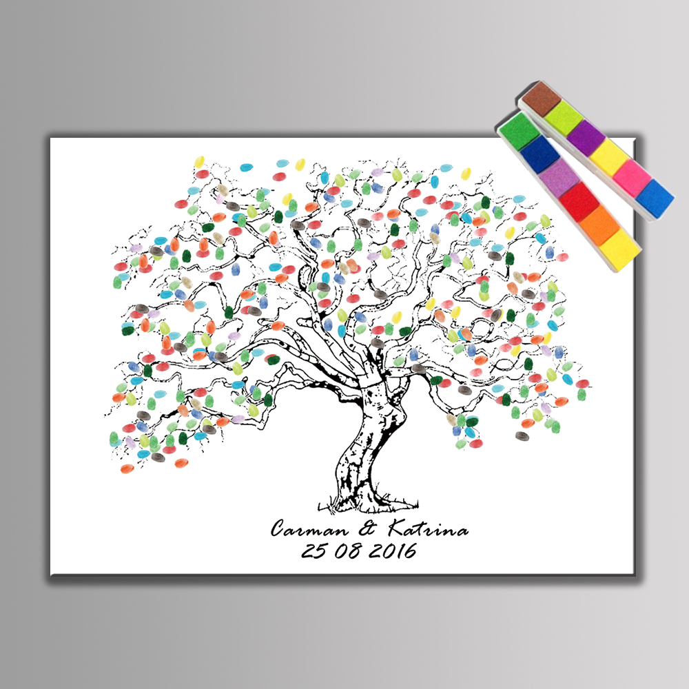 1 set Personalize Wedding Souvenirs Guest Book DIY Fingerprint Tree Signature Canvas Painting For Romantic Wedding Decoration