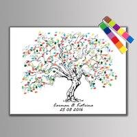 1 Set Personalize Wedding Decoration Happy Wedding Souvenir Guest DIY Fingerprint Tree Painting 24 Pieces Ink