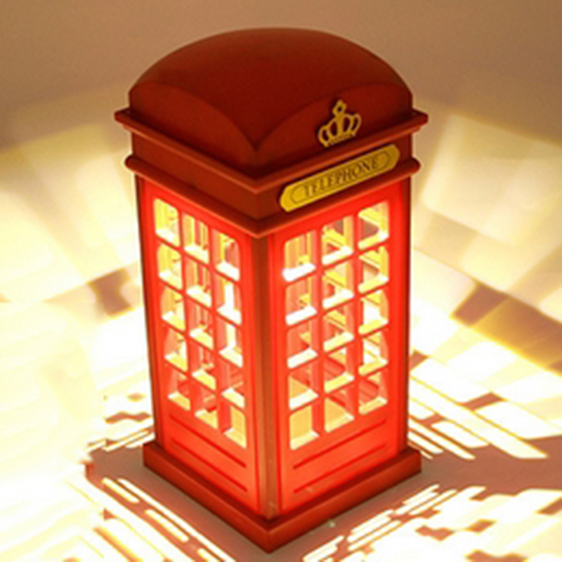 Hot Sale Adjustable Retro London Telephone Booth Red Night Light USB Battery Dual-Use LED Table Lamp for New Year Gift 1x popular london telephone box key holder keychain british red telephone booth key wallet tool
